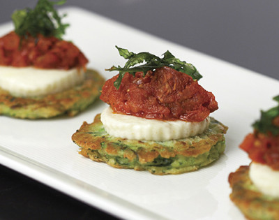 Zucchini Fritters with Fresh Buffalo Mozzarella, Stewed Grape Tomatoes, and Micro Basil
